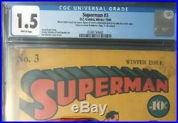 1940 DC Comics SUPERMAN #3 CGC 1.5 UNIVERSAL GOLDEN AGE KEY SIEGEL & SHUSTER