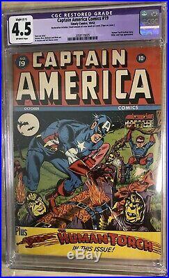 1942 Captain America 19 CGC 4.5 Stan Lee story Allen Bellman art Golden Age