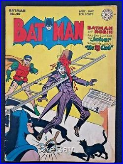 1947 DC Batman #40 Classic Joker Golden Age Cover Not Cgc/cbcs