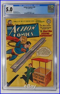 ACTION COMICS #159 CGC 5.0 VG/FN- RARE! 1951 Graded Golden Age Comic