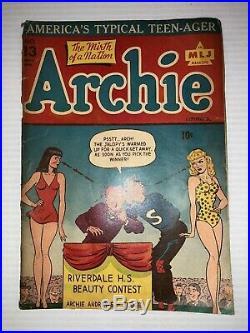 Archie Comics #13 Betty & Veronica Swimsuit Cover Vintage Golden Age