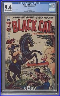 BLACK CAT COMICS #15 CGC 9.4 Golden Age Lee Elias art