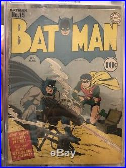 Batman #15 DC Golden Age 1943 Catwoman new costume. Batman gun cover