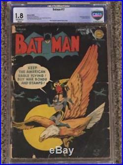 Batman #17 DC Comics 1943 CBCS 1.8 certified War Bonds Eagle cover Golden Age