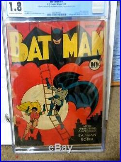 Batman #4 Cgc 1.8 First Mention Of Gotham City Golden Age Batman Joker App