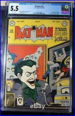Batman #55 Cgc 5.5 White Pages Joker Cover & Story Golden Age