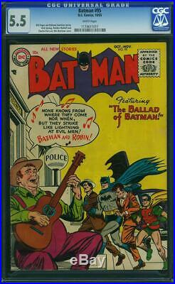 Batman #95 CGC 5.5 DC 1955 Golden Age! White Pages! Justice League! H12 111 1 cm