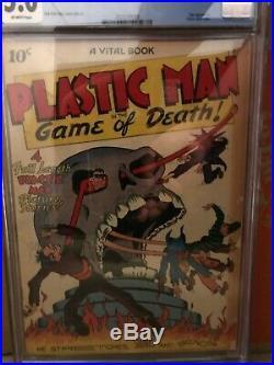 CGC Plastic Man 1 CGC 5.0 Blue Universal Golden Age Jack Cole Rare Skull cover