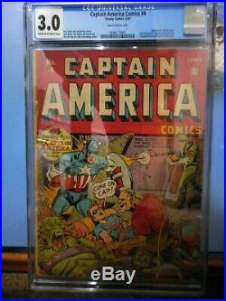 Captain America #4 Cgc 3.0 Great Early Golden Age Pin-up Back Cover