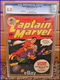 Captain Marvel Adventures 44 CGC 8.0 Centered Golden Age OW-W SHAZAM