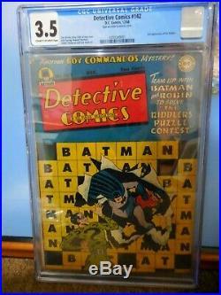 Detective Comics #142 Cgc 3.5 Second Riddler Appearance Golden Age Batman