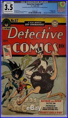 Detective Comics #67 Cgc 3.5 Batman 1st Penguin Cover Golden Age