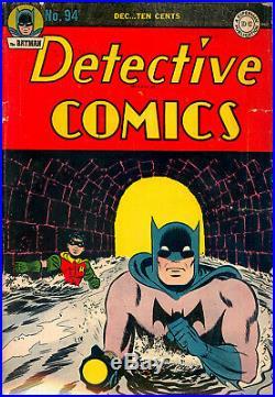 Detective Comics #94 Cgc 3.5 Classic Golden Age Batman Cvr Finger Sprang 1944