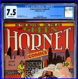 GREEN HORNET COMICS #3 CGC 7.5 OW SCARCE! Holyoke Pub. 1941 Golden Age