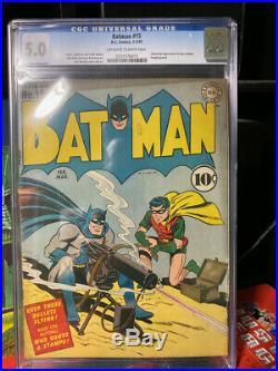 Golden Age BATMAN #15 CGC 5.0 Classic WWII machine gun cover Catwoman appearance