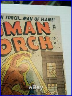 Human Torch 36 Golden Age SUPER RARE VG 4.0 Submariner also Atlas Timely 1954