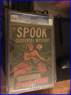 SPOOK SUSPENSE MYSTERY #28 CGC 4.0 LB Cole Cover Golden Age Rare Horror Comic