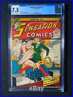 Sensation Comics #42 CGC 7.5 (1945) Golden Age Beauty! Wonder Woman